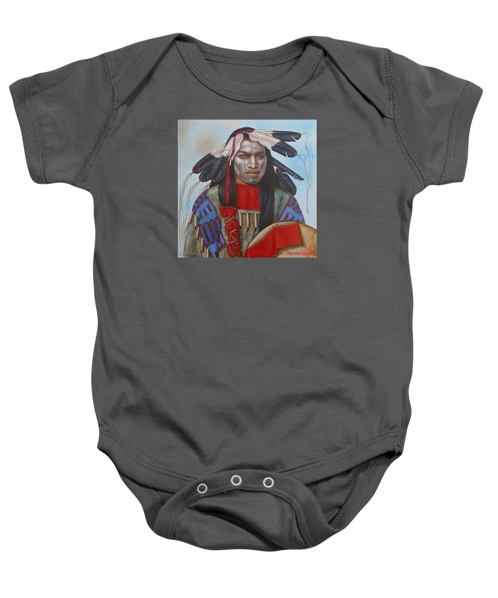 American Indian Baby Onesie featuring the painting Time Is At Hand by K Henderson