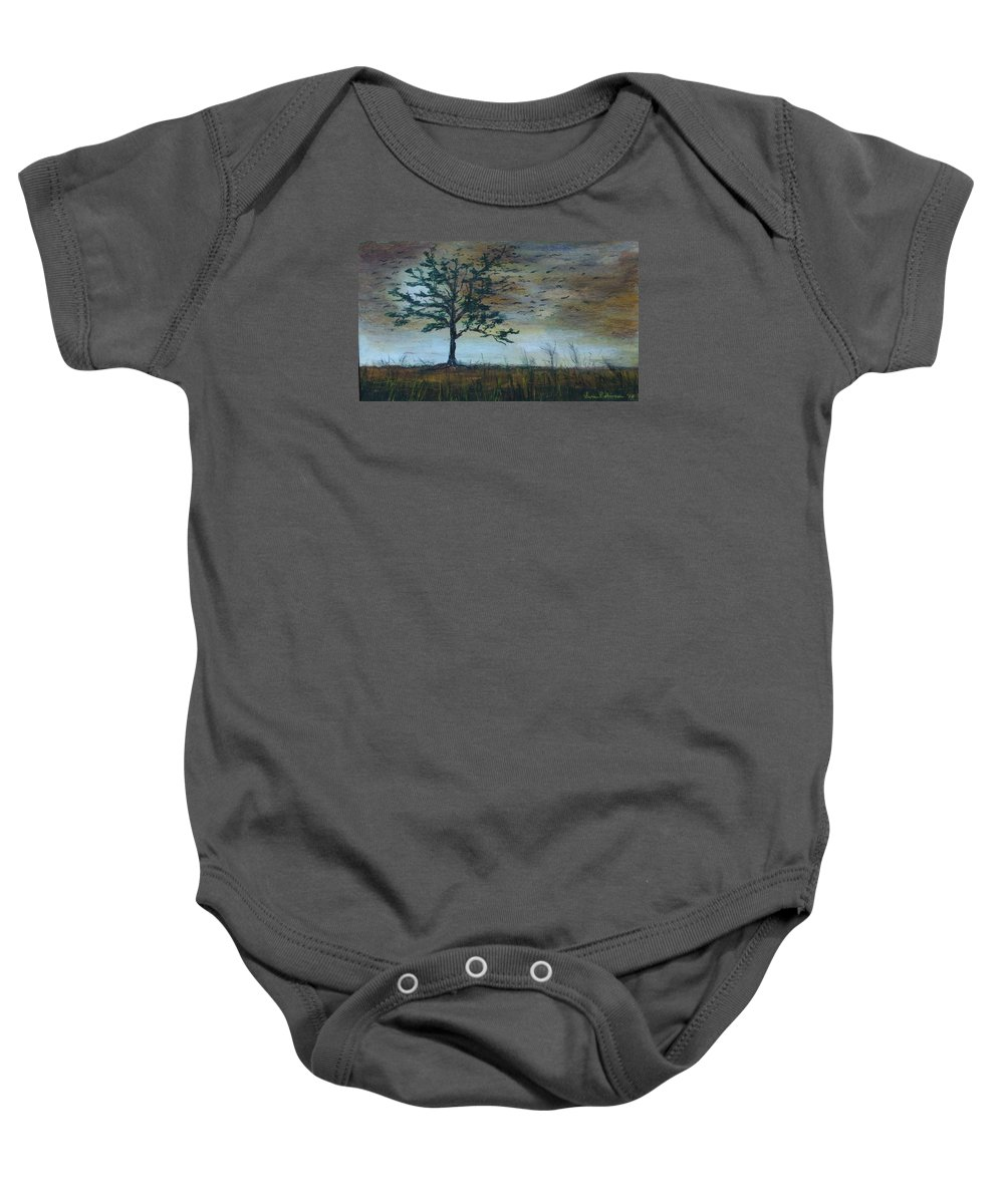 Landscape Baby Onesie featuring the painting Time To Fly Away - Sold by Vivan Robinson