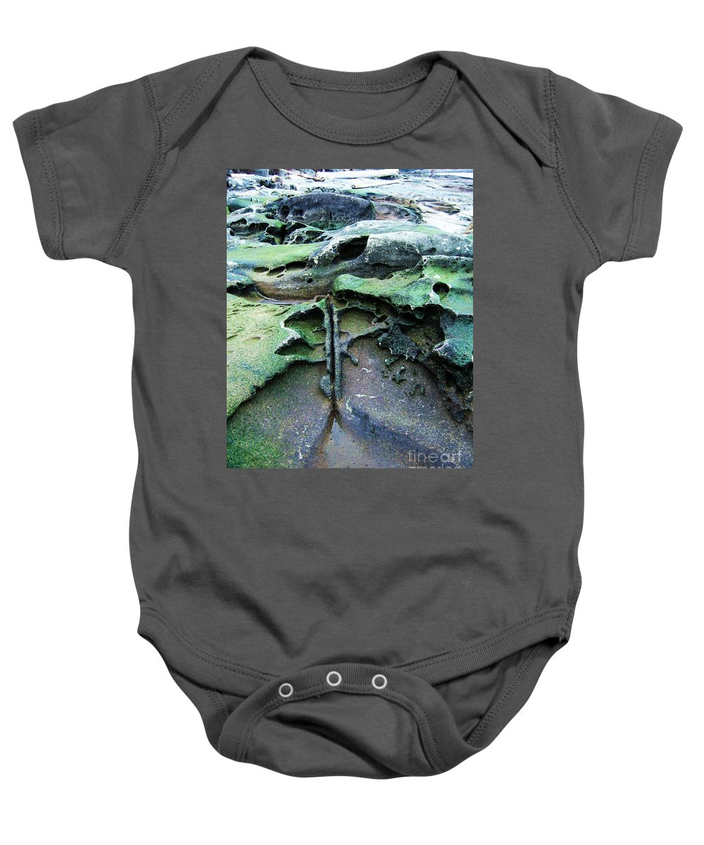 Photograph Rock Beach Ocean Baby Onesie featuring the photograph Time Washed Out by Seon-Jeong Kim