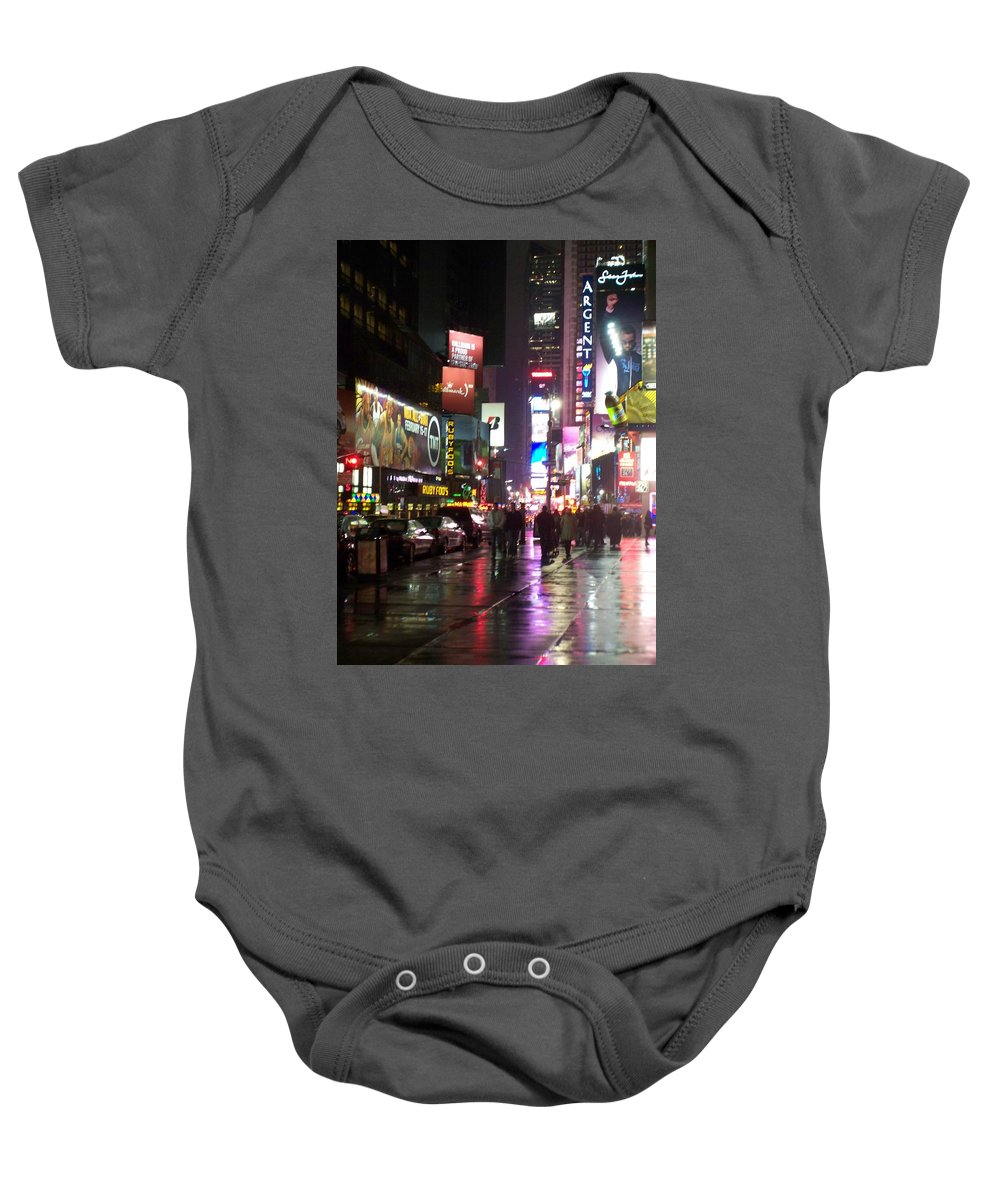 Times Square Baby Onesie featuring the photograph Times Square In The Rain 1 by Anita Burgermeister