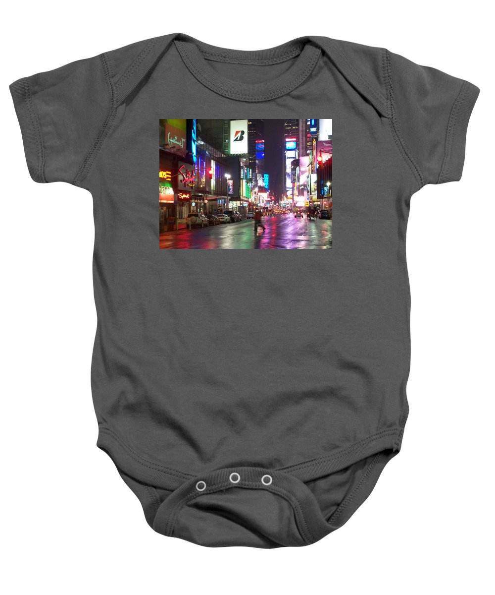 Times Square Baby Onesie featuring the photograph Times Square In The Rain 2 by Anita Burgermeister