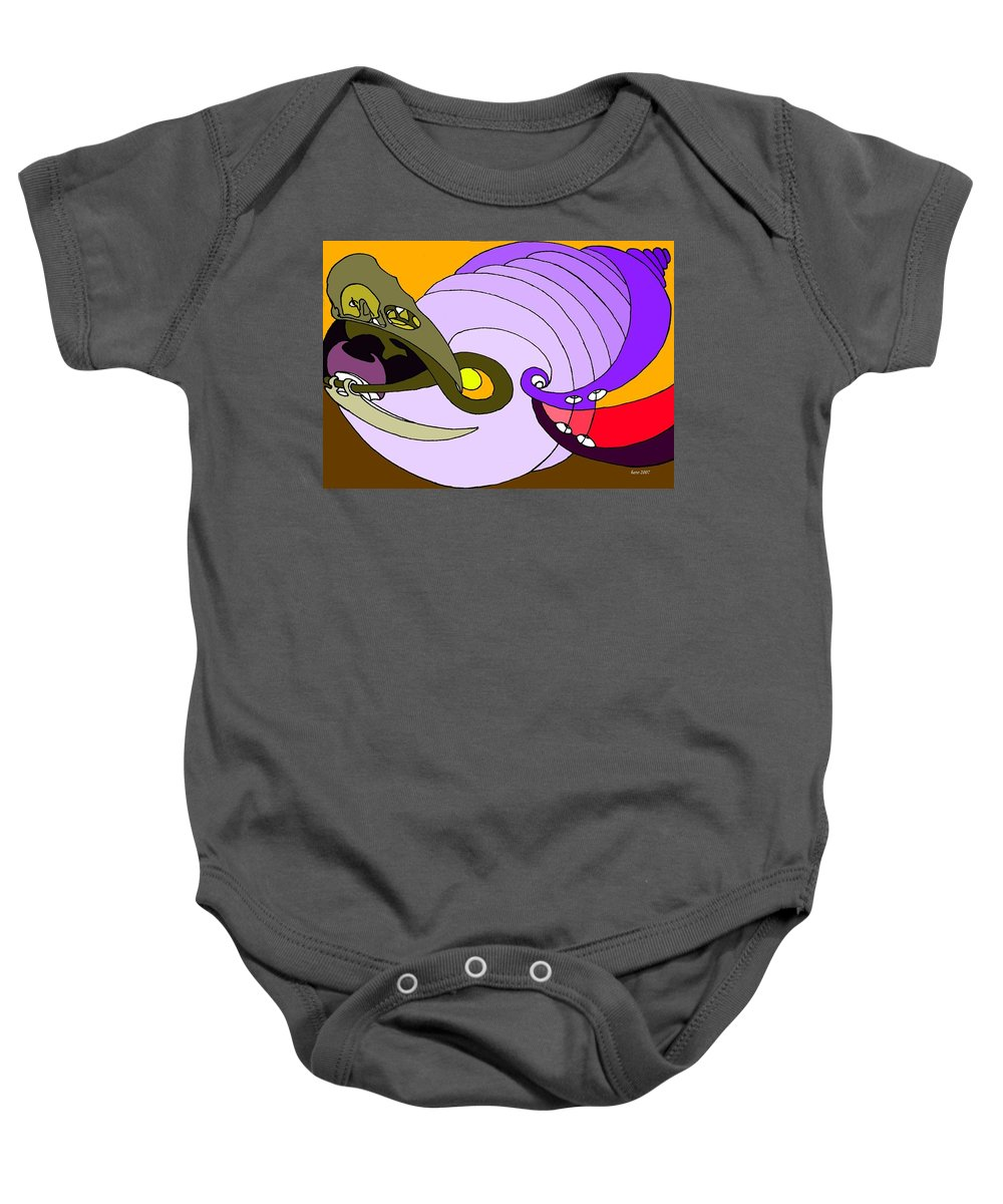 Timespiral Baby Onesie featuring the mixed media Timespiral by Helmut Rottler
