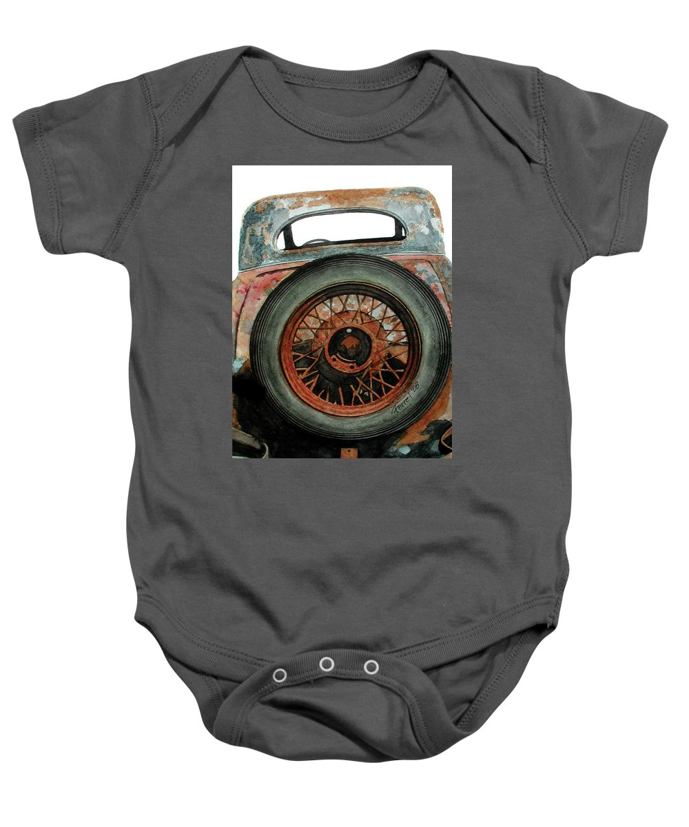 Car Baby Onesie featuring the painting Tired by Ferrel Cordle