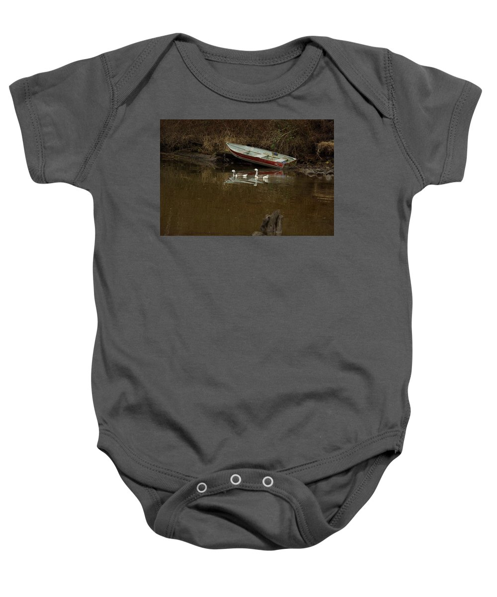Geese Baby Onesie featuring the photograph To Float Or Not To Float by Cindy Johnston