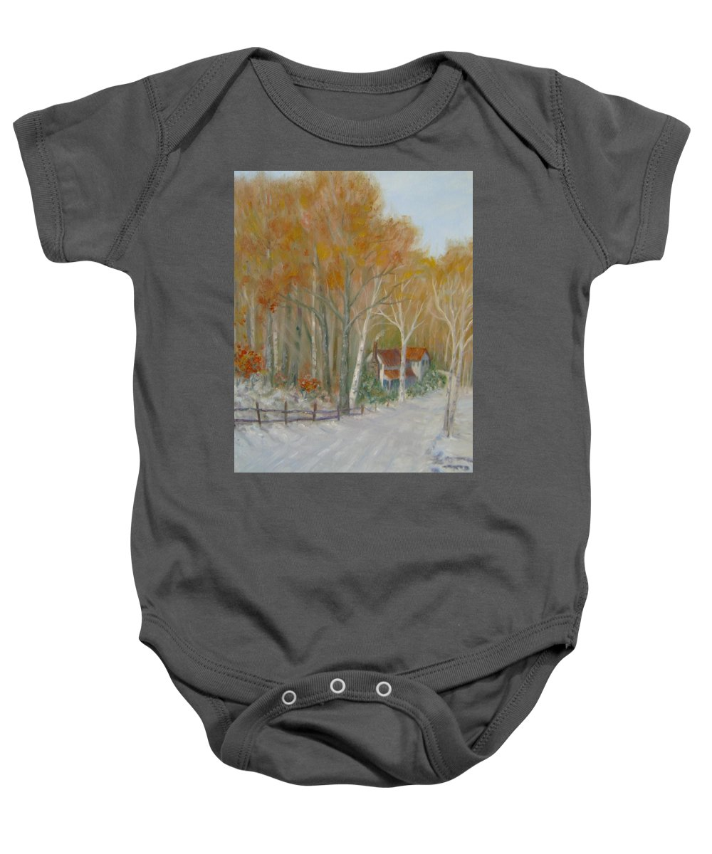 Country Road; House; Snow Baby Onesie featuring the painting To Grandma's House by Ben Kiger