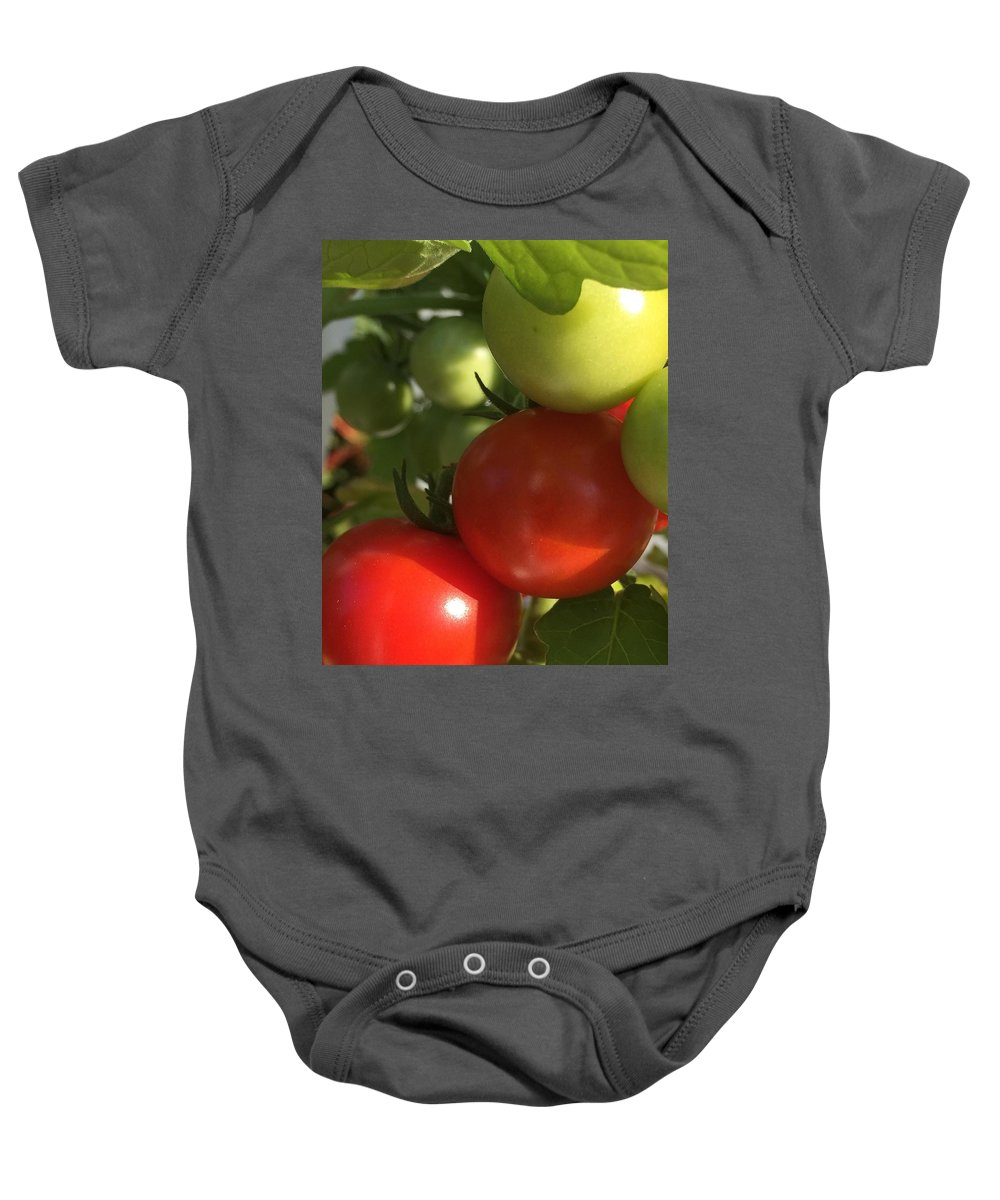 Tomatoes Baby Onesie featuring the photograph Tomatoes by Lisa Cassinari
