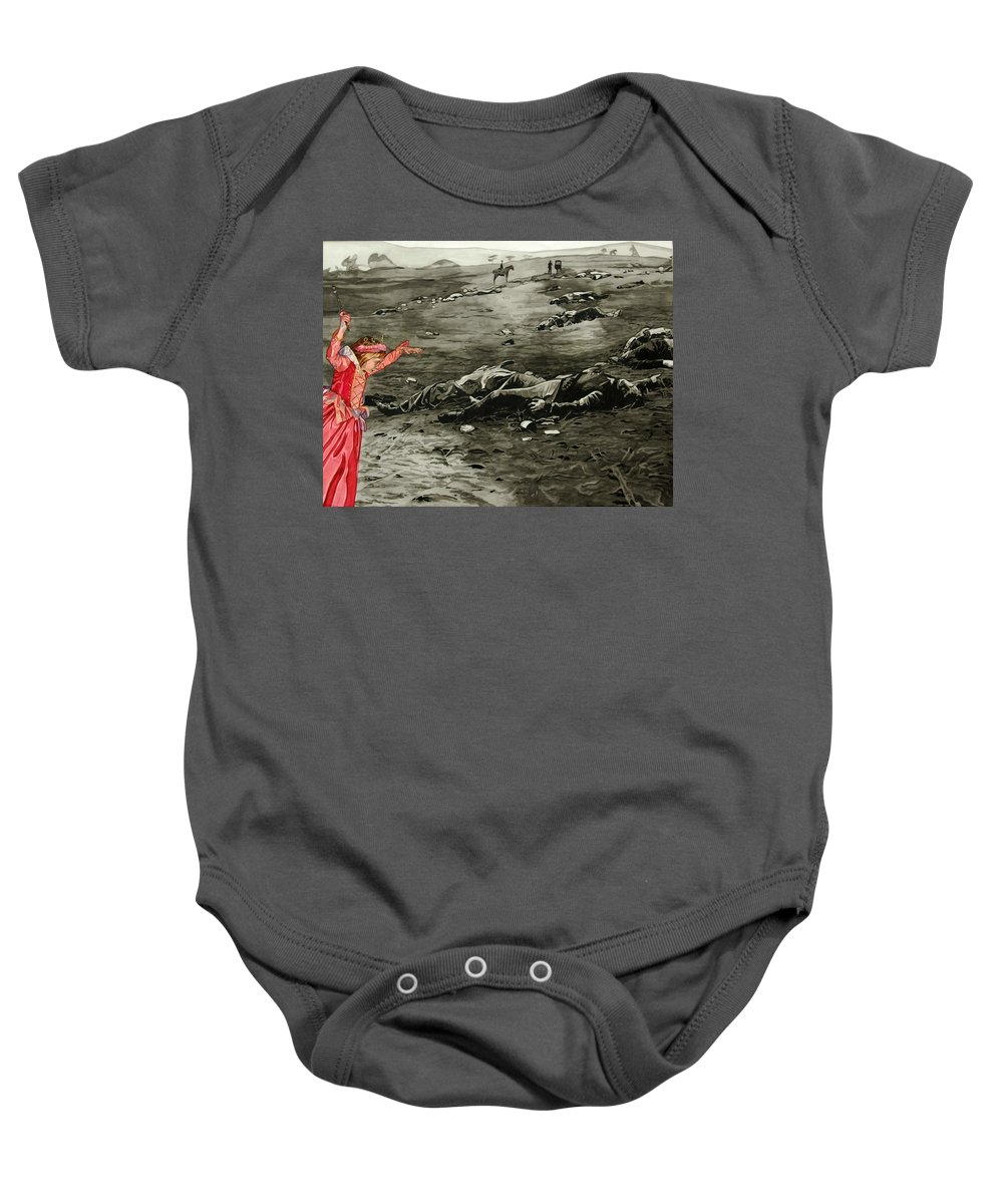War Baby Onesie featuring the painting Too Late by Valerie Patterson