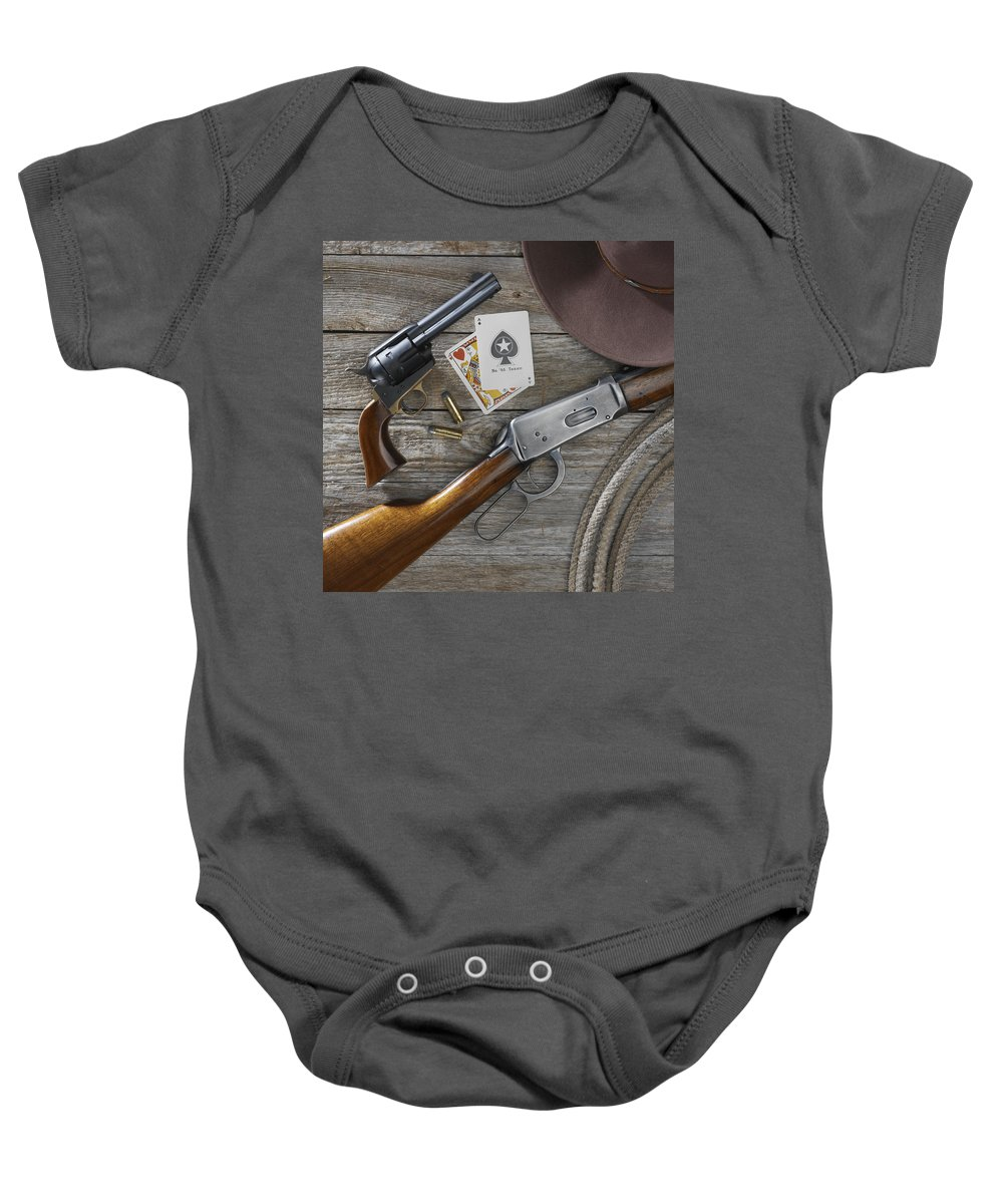 Old West Baby Onesie featuring the photograph Tools Of The Trade by Jerry McElroy