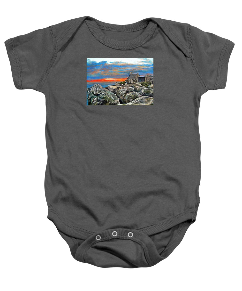 Sunset Baby Onesie featuring the painting Top Of Table Mountain by Michael Durst