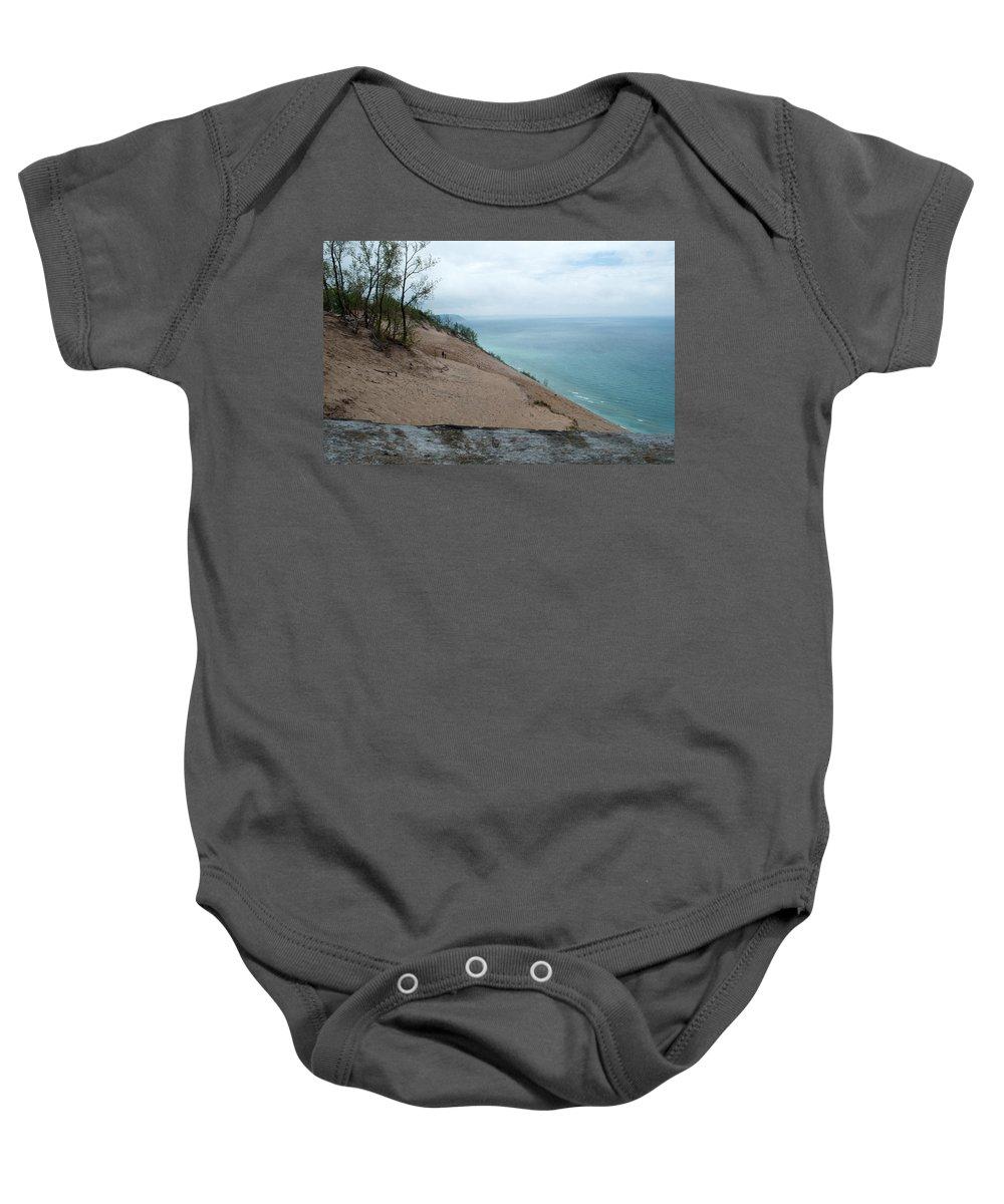 Sleeping Bear Dunes Baby Onesie featuring the photograph Top Of The Dune by Linda Kerkau