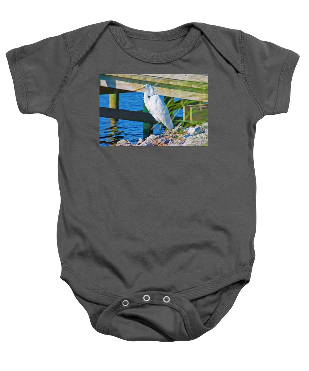 White Baby Onesie featuring the photograph Topsail Egret by Betsy Knapp