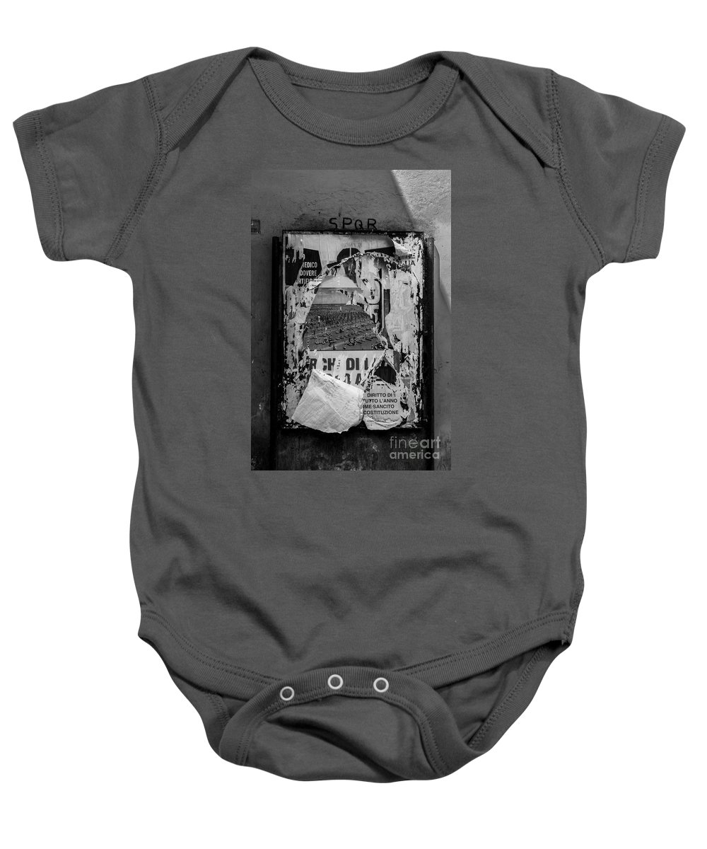 Italy Baby Onesie featuring the photograph Torn Posters Rome Italy by Edward Fielding