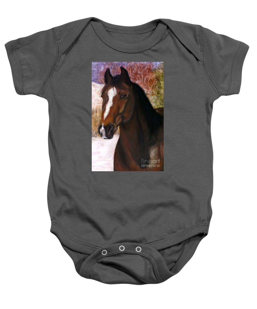 Horse Baby Onesie featuring the painting Toronto by Frances Marino