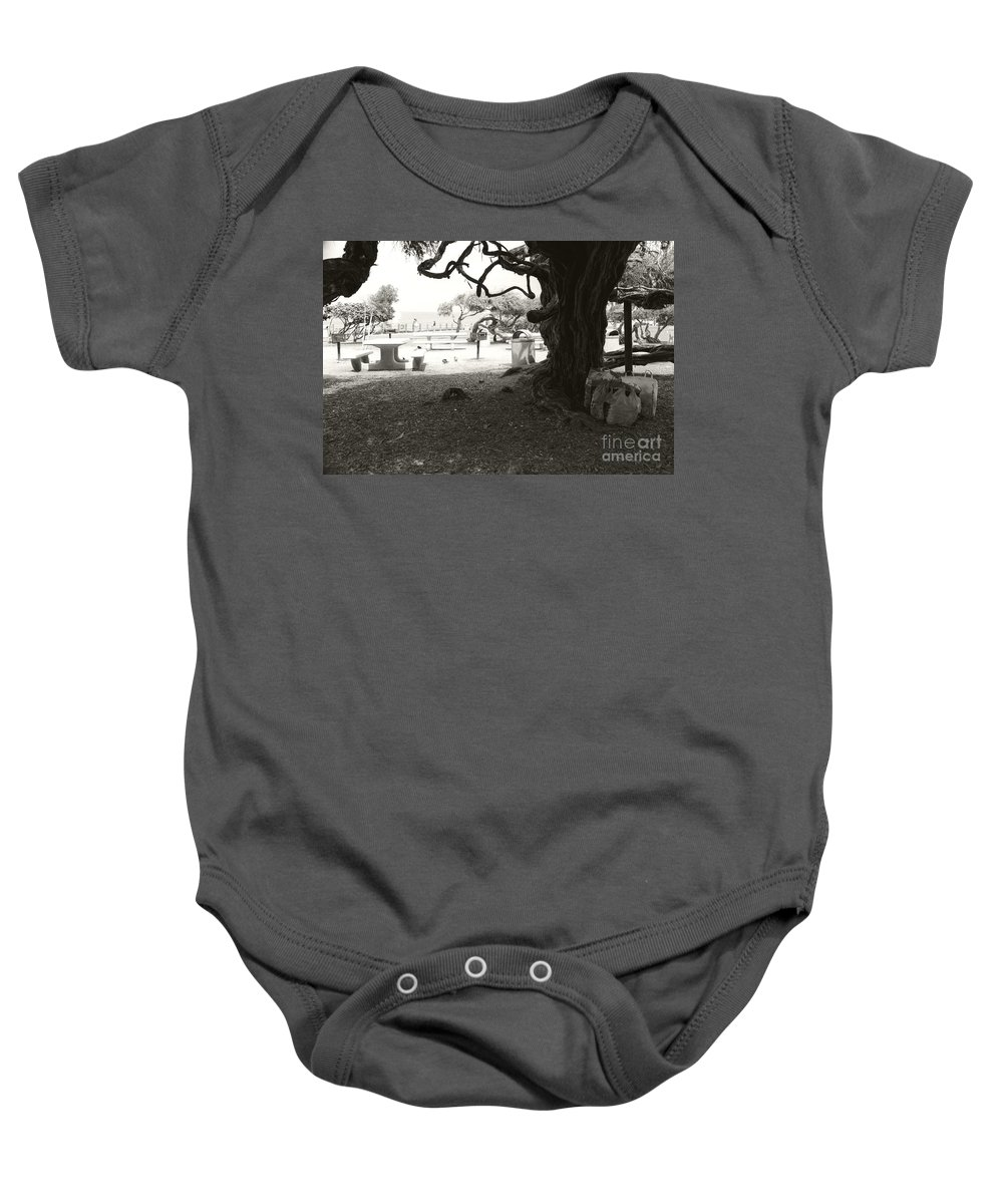 La Jolla Baby Onesie featuring the photograph Torrey Pines Baggage Claim by Heather Kirk