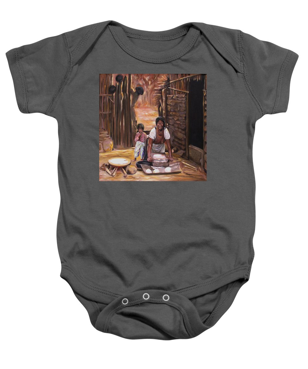 Mexican Baby Onesie featuring the painting Tortillas De Madre by Nancy Griswold