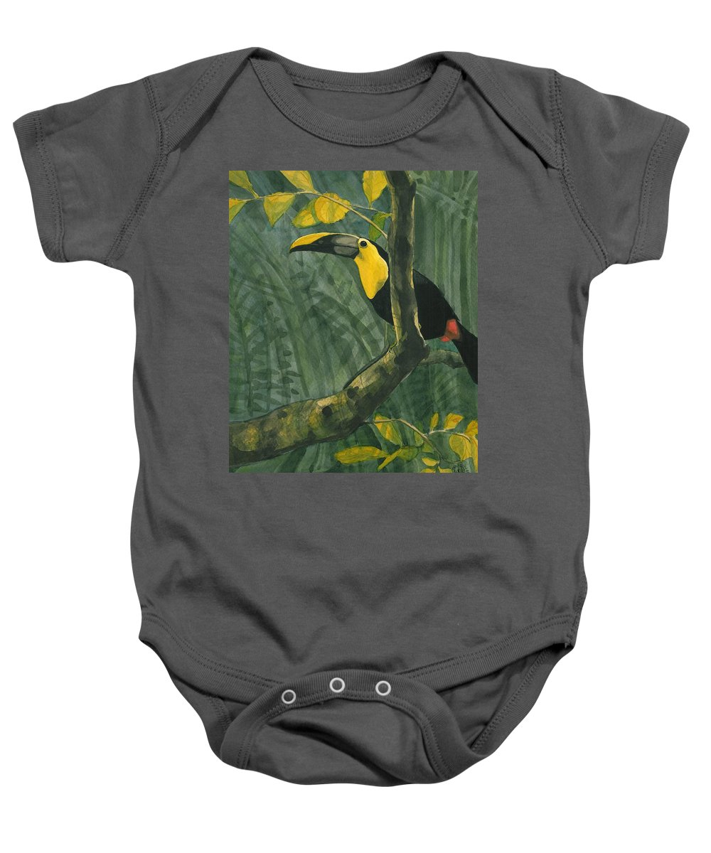 Bird Baby Onesie featuring the painting Toucan In Jungle by Tod Locke