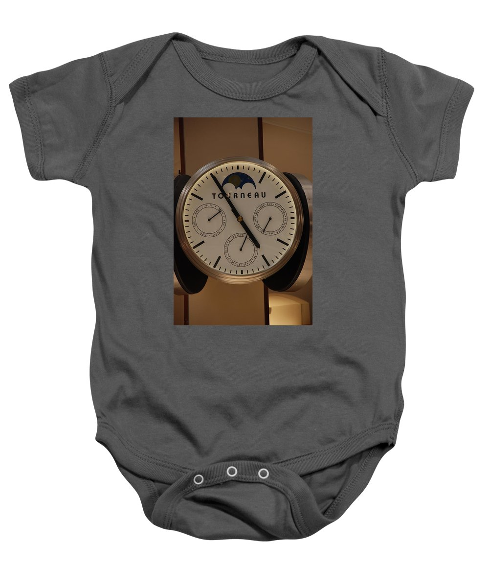Clock Baby Onesie featuring the photograph Tourneau by Rob Hans