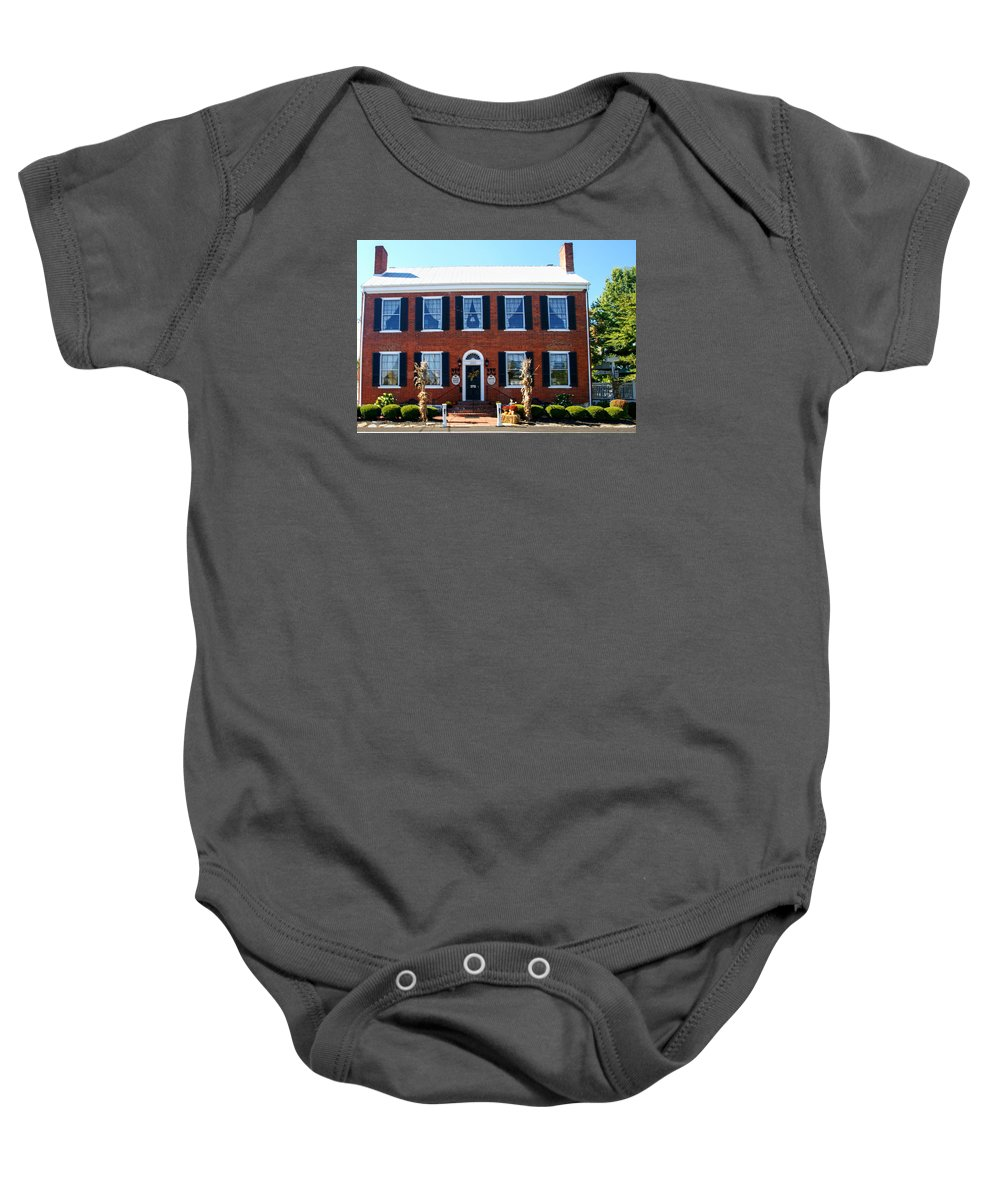 Historic Baby Onesie featuring the photograph Tousey House by Paul Lindner