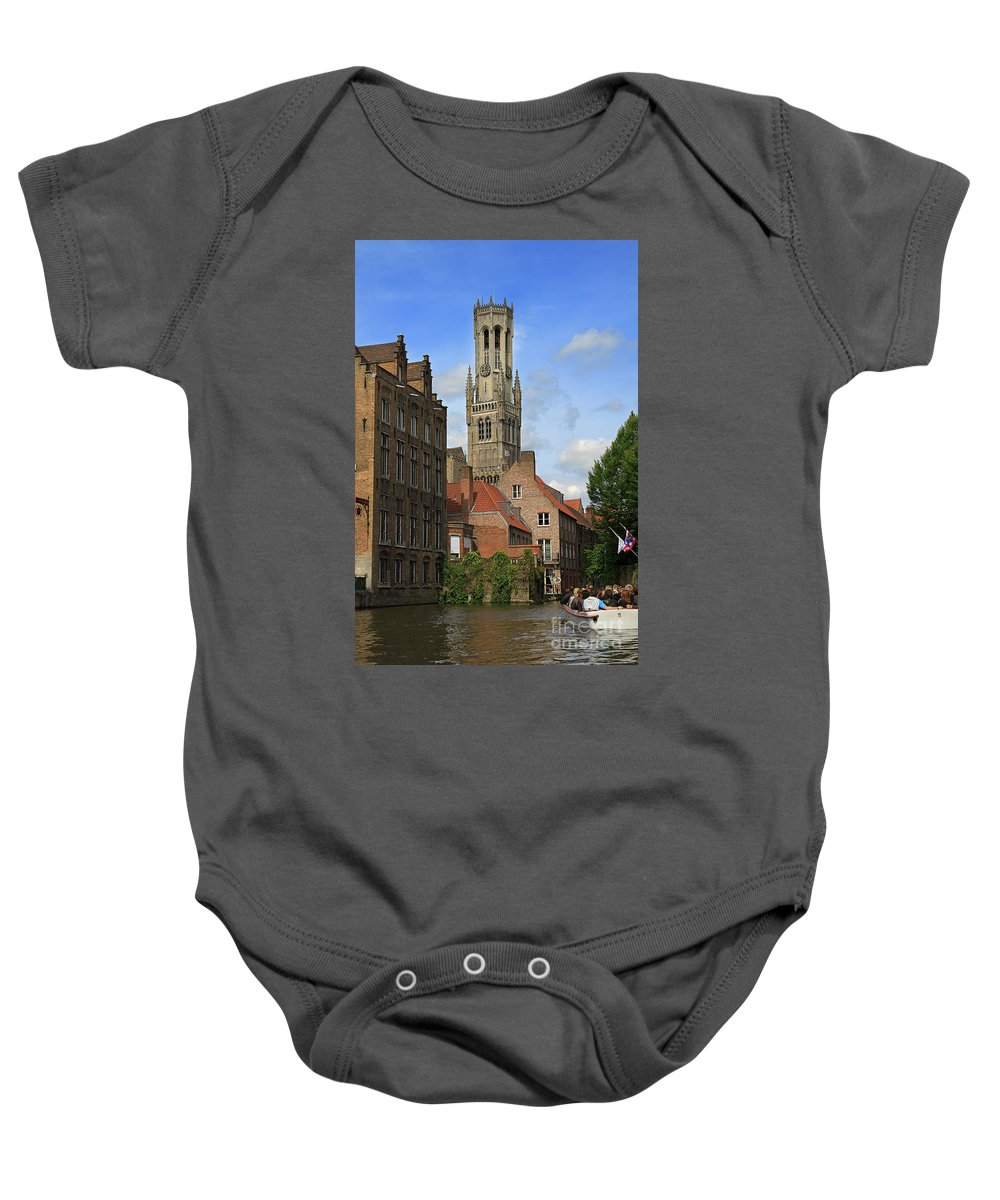 Bruges Baby Onesie featuring the photograph Tower Of The Belfrey From The Canal At Rozenhoedkaai by Louise Heusinkveld