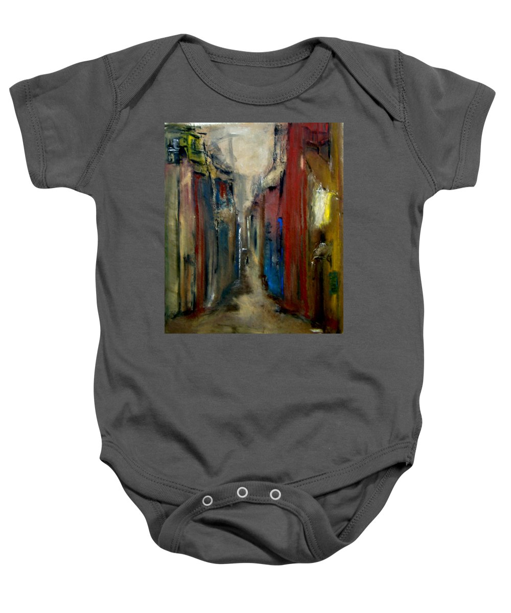 Abstract Baby Onesie featuring the painting Town by Rome Matikonyte