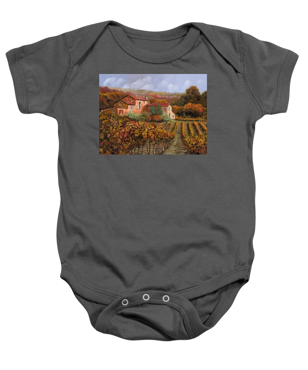 Wine Baby Onesie featuring the painting tra le vigne a Montalcino by Guido Borelli