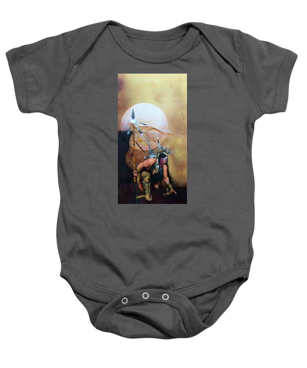 Native American Themed Art Baby Onesie featuring the painting Tracker by Mike Smith