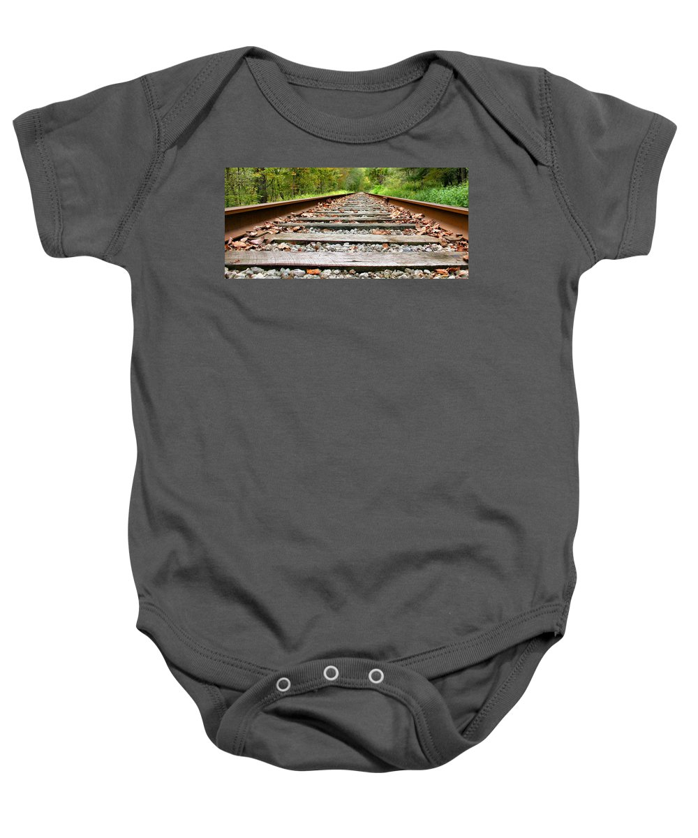 Train Tracks Baby Onesie featuring the photograph Tracking To The Right And Around The Bend by Kristin Elmquist