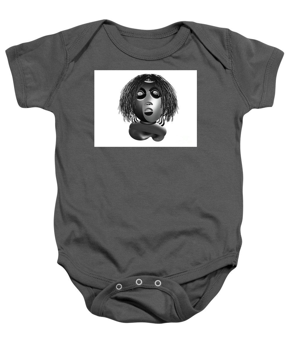 Baby Onesie featuring the mixed media Tracys Mom Bw by Simo Bikazzan
