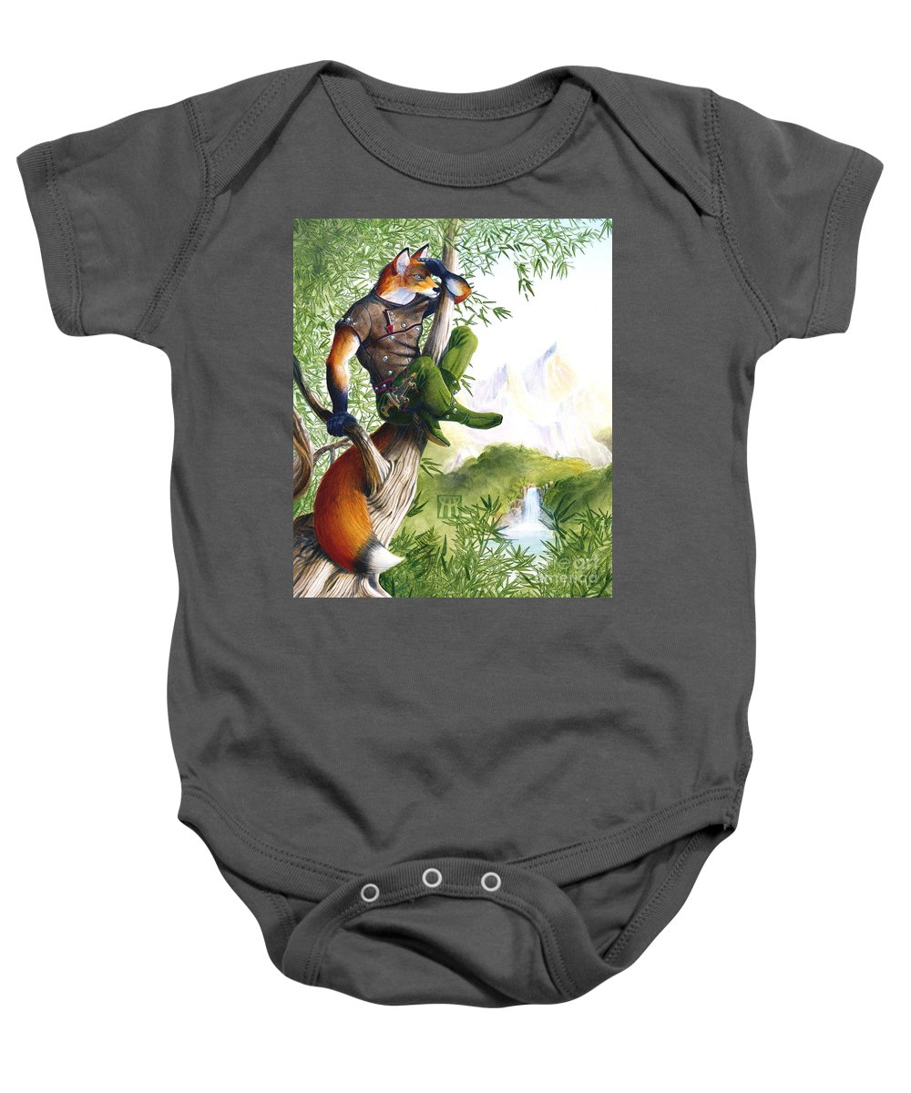 Fantasy Baby Onesie featuring the painting Trail Blazing Fox by Melissa A Benson