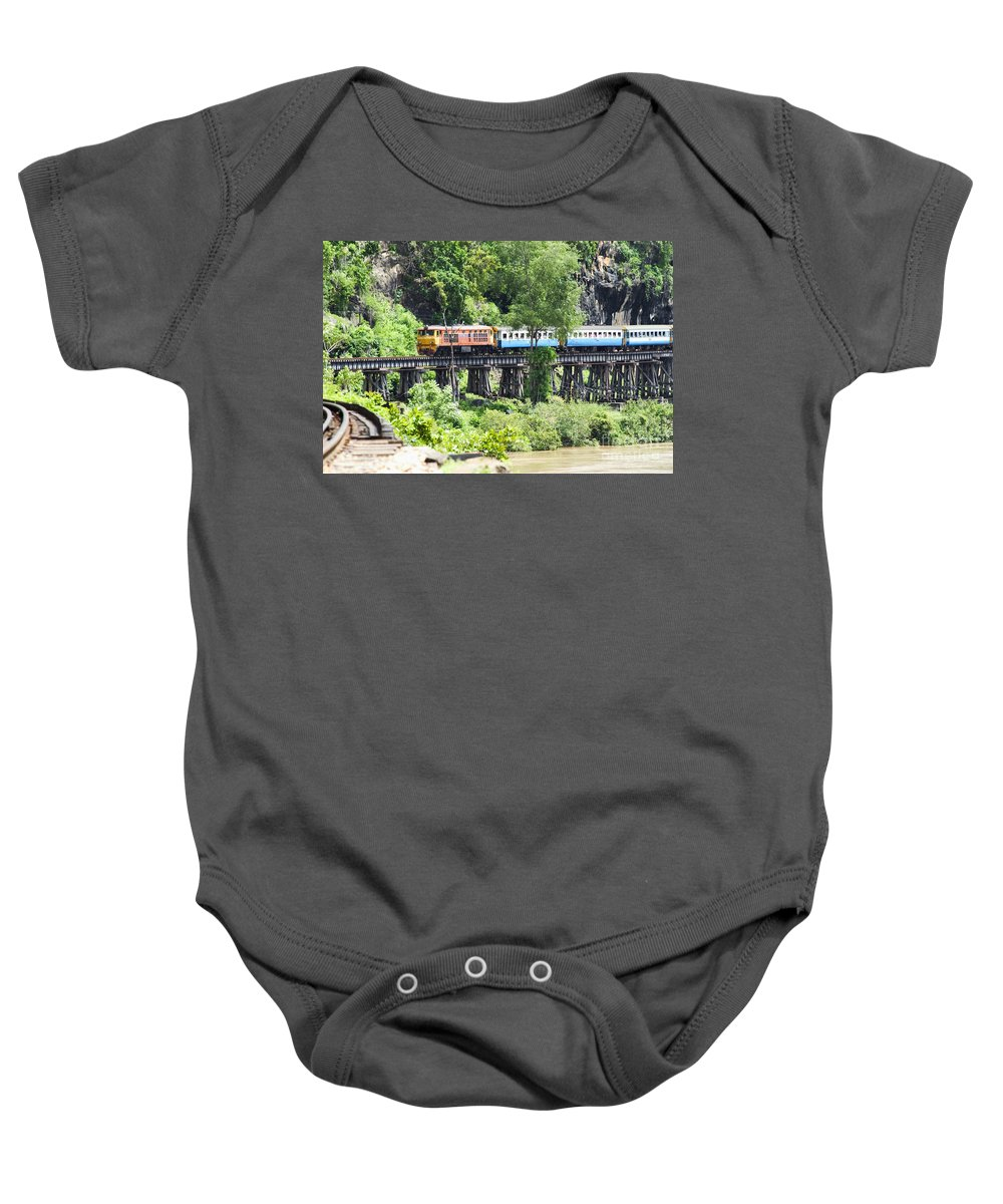 Architectural Art Baby Onesie featuring the photograph Train by Bill Brennan - Printscapes
