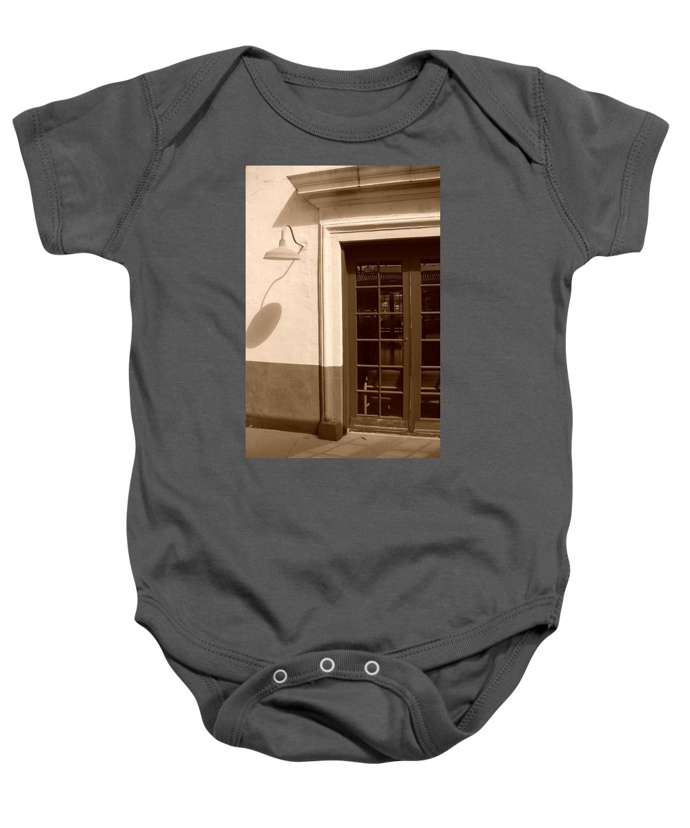 Sepia Baby Onesie featuring the photograph Train Station Of The 40s by Rob Hans