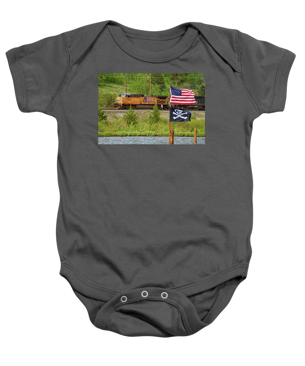 Trains Baby Onesie featuring the photograph Train The Flags by James BO Insogna
