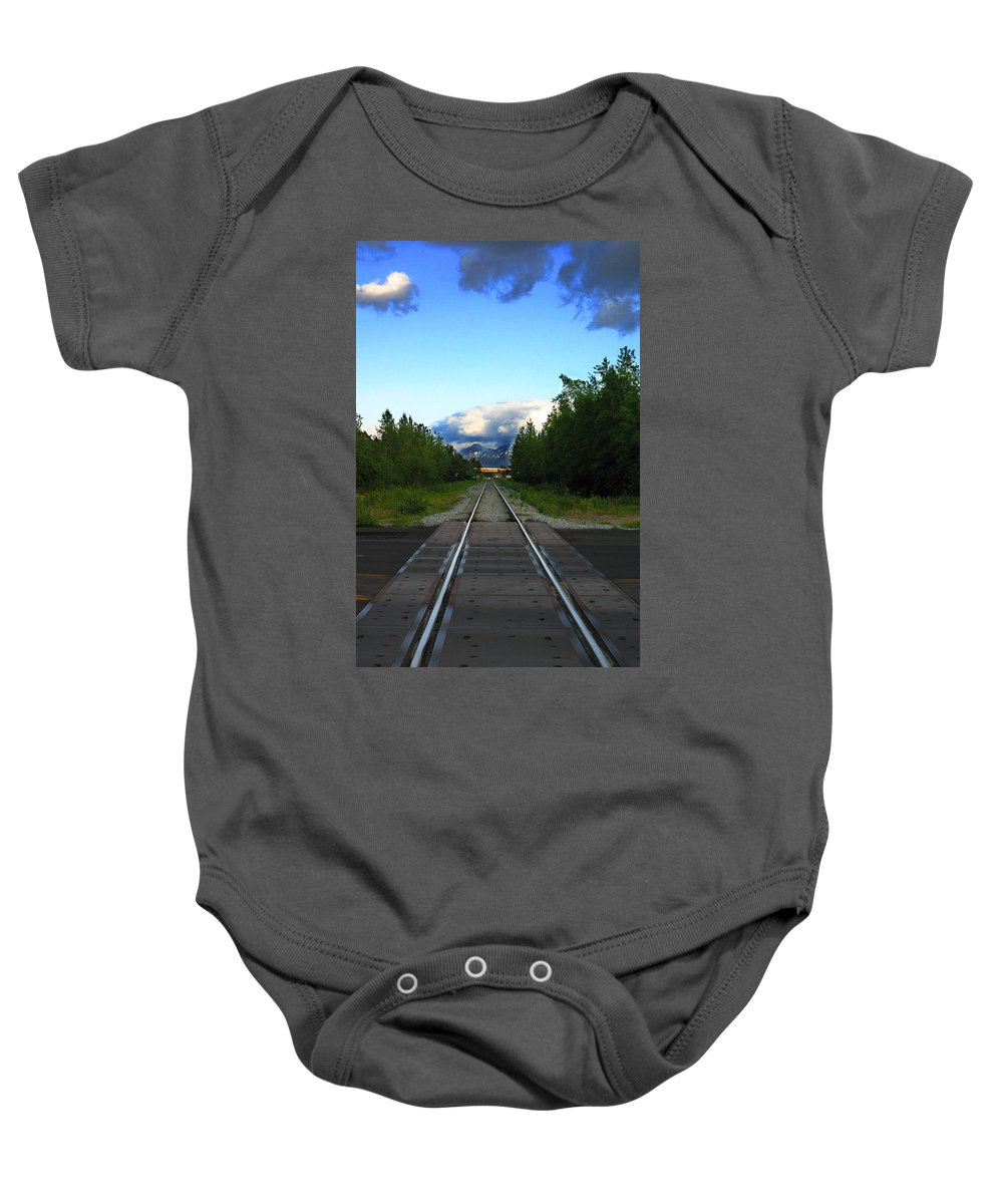 Train Baby Onesie featuring the photograph Train Tracks Anchorage Alaska by Anthony Jones