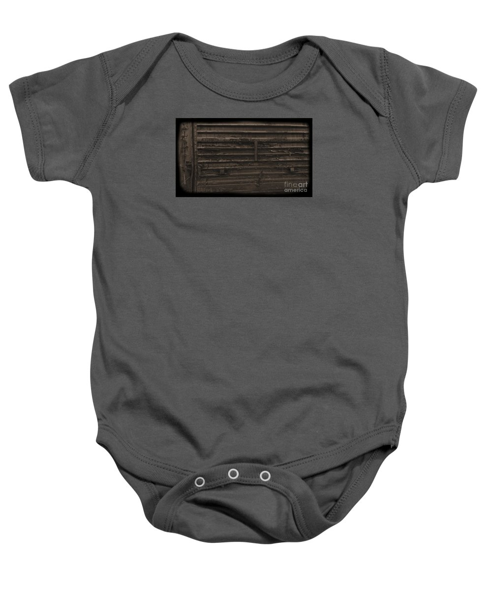 Train Baby Onesie featuring the photograph Trains 13 Daguerreotype by Jay Mann