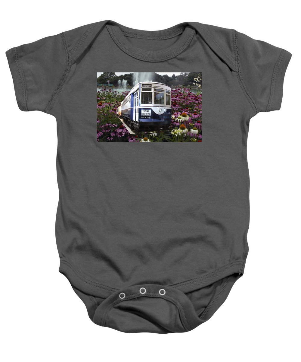 Passenger Baby Onesie featuring the mixed media Trains Brookfield Zoo Trolley Car 141 by Thomas Woolworth