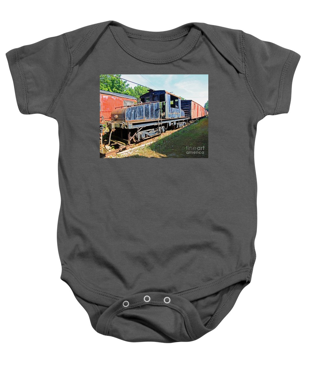 Train Baby Onesie featuring the photograph Trainyard 7 by Steve Gass