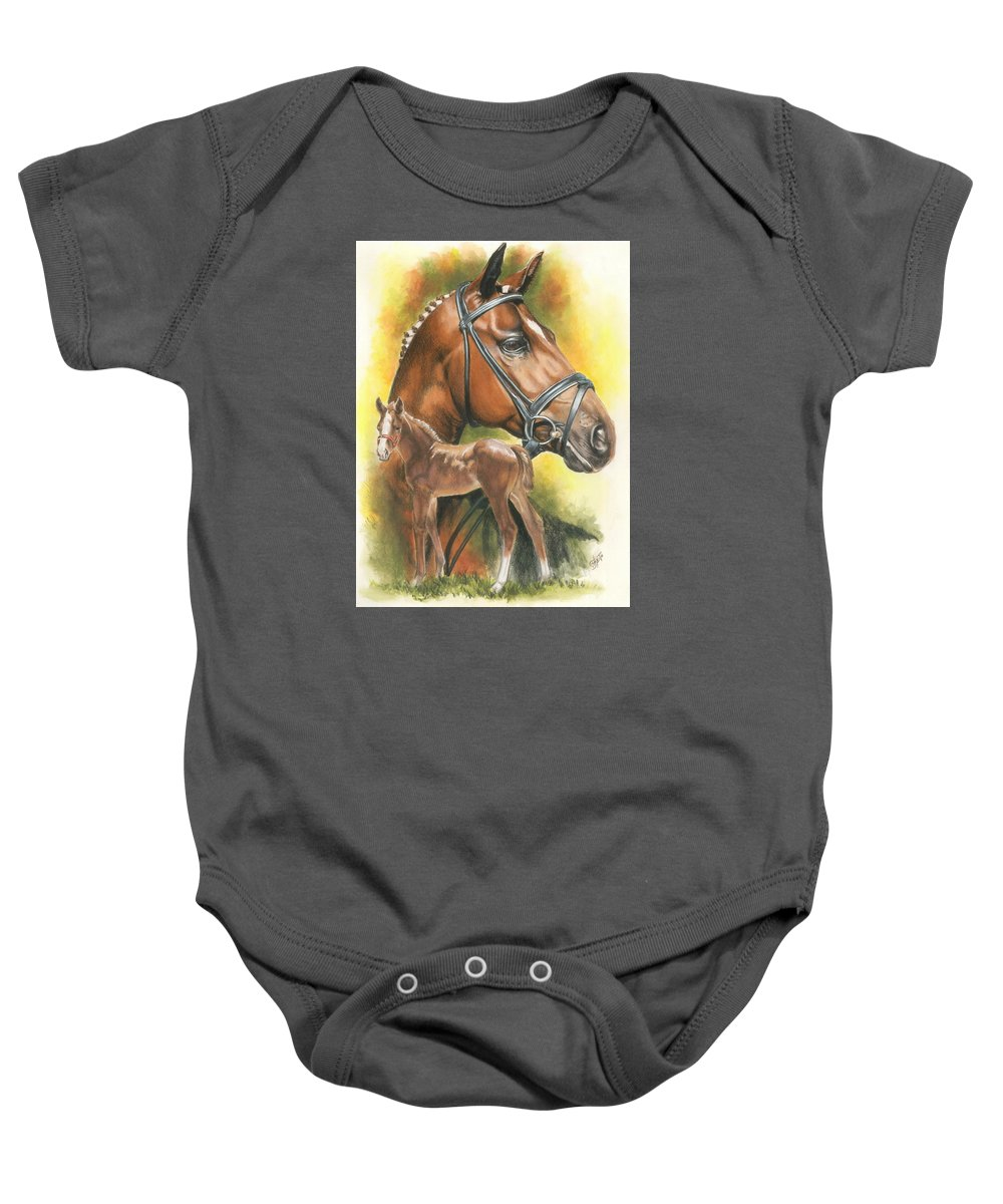 Jumper Hunter Baby Onesie featuring the mixed media Trakehner by Barbara Keith