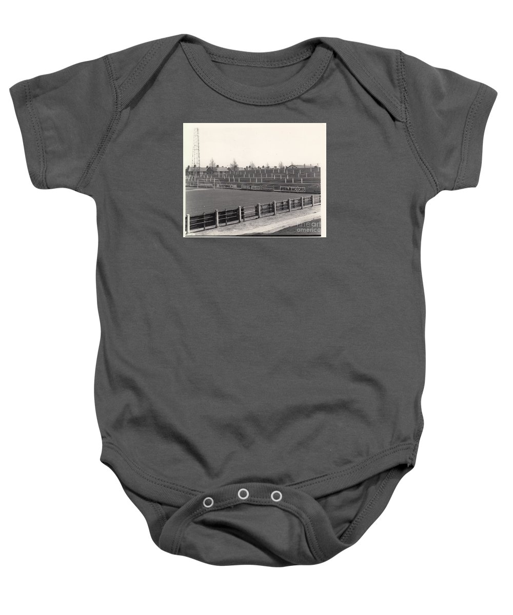 Baby Onesie featuring the photograph Tranmere Rovers - Prenton Park - Bebington Kop End 1 - Bw - 1967 by Legendary Football Grounds