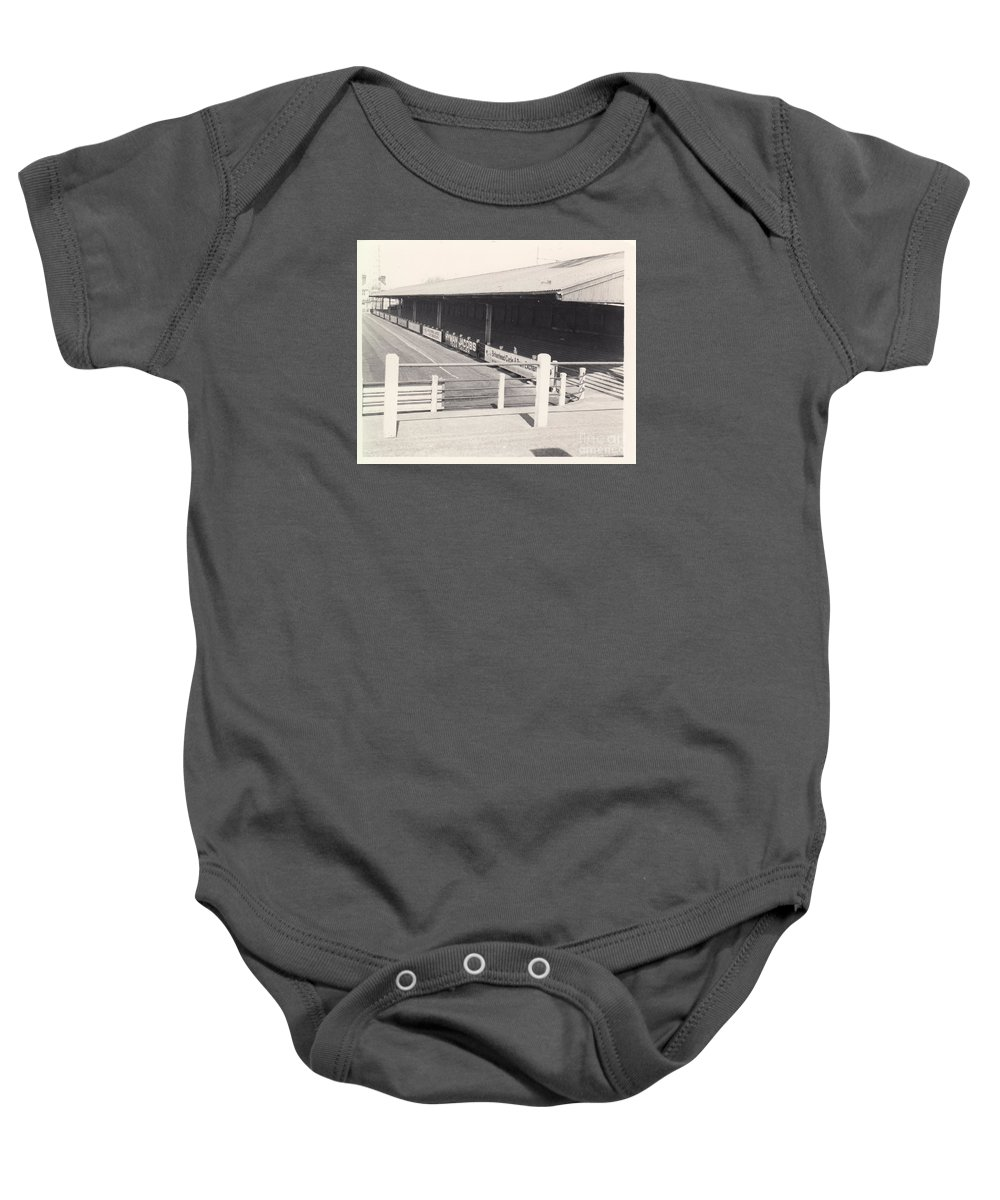 Baby Onesie featuring the photograph Tranmere Rovers - Prenton Park - Borough Road Stand 1 - Bw - 1967 by Legendary Football Grounds