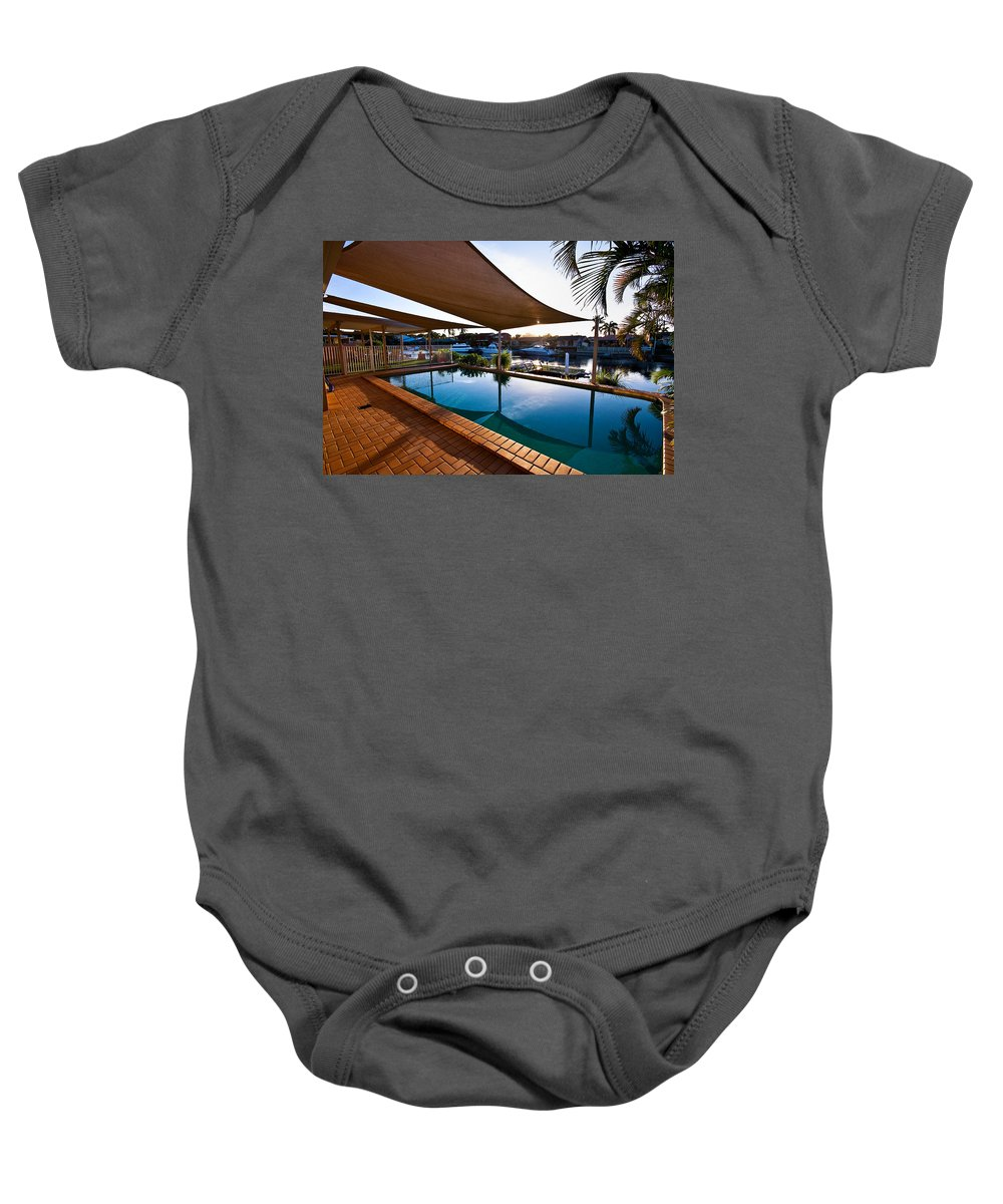 Swimming Baby Onesie featuring the photograph Tranquil Pool by Darren Burton