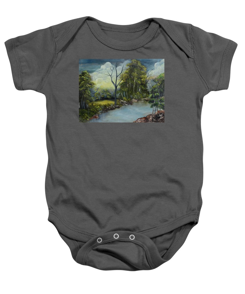 Landscape Baby Onesie featuring the painting Tranquility by Sudha Srivastava