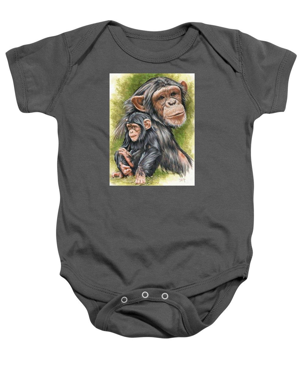 Chimpanzee Baby Onesie featuring the mixed media Treasure by Barbara Keith