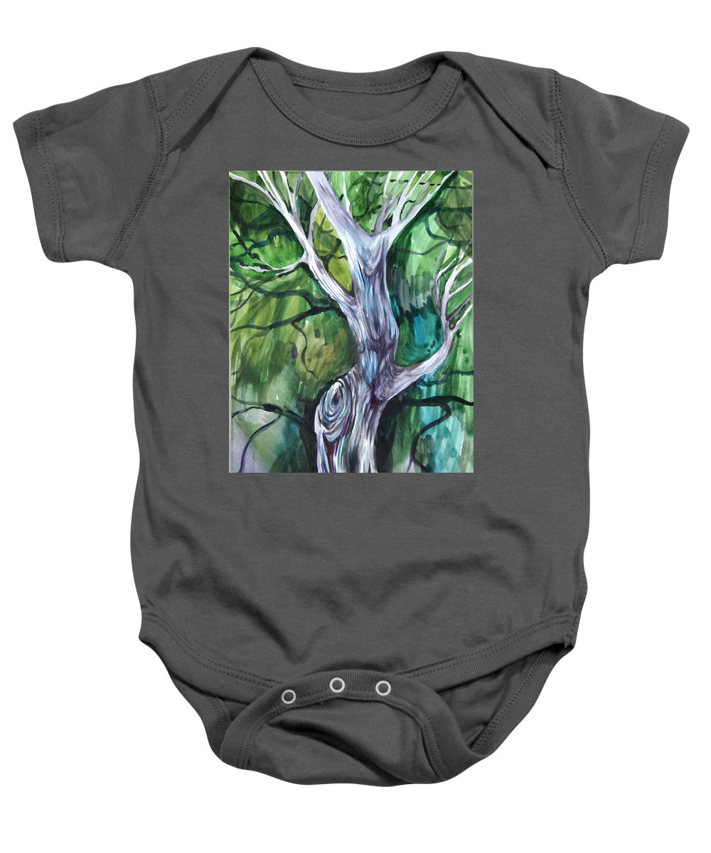Watercolor Baby Onesie featuring the painting Tree by Anna Duyunova