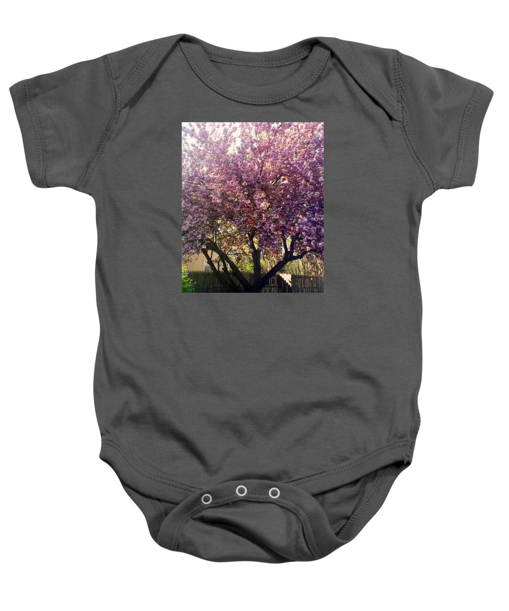 Pink Tree Baby Onesie featuring the photograph Tree In Pink by Michelle Caraballo