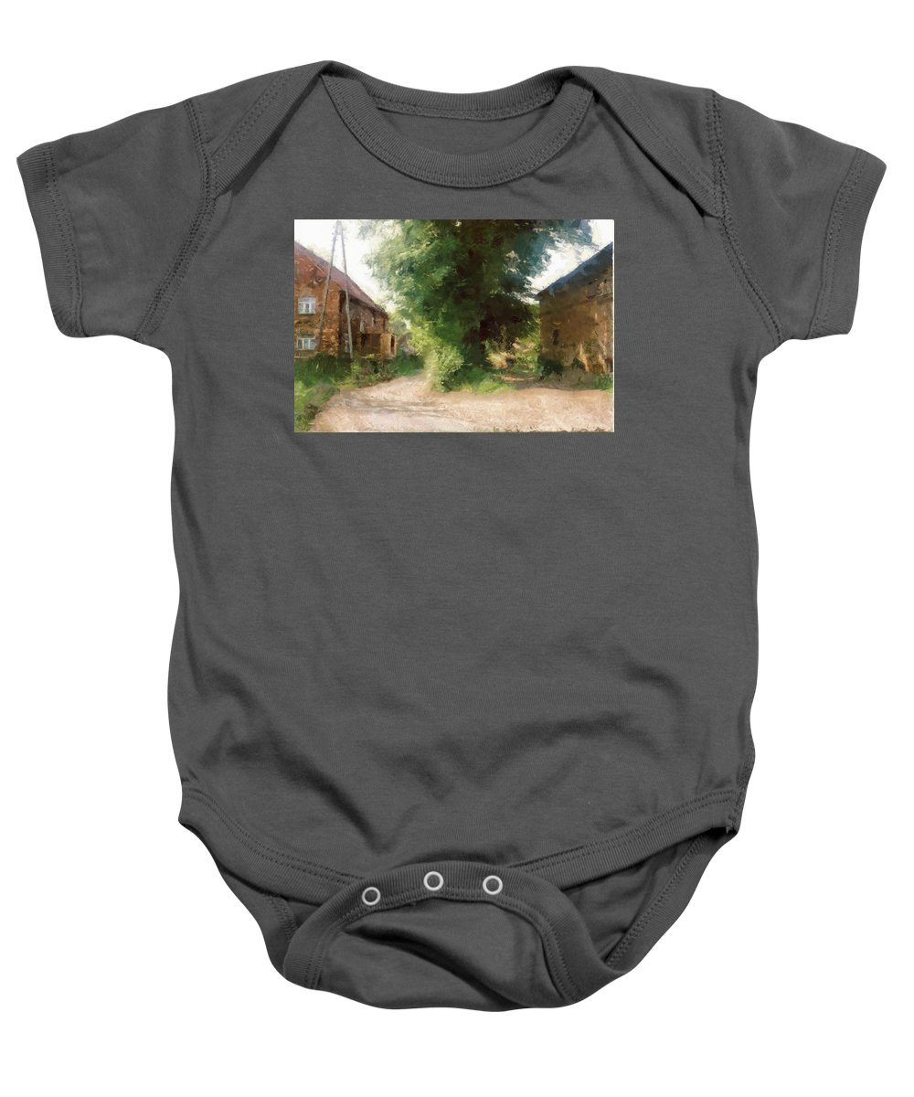 Tree Baby Onesie featuring the digital art Tree In The Road by Marcin and Dawid Witukiewicz