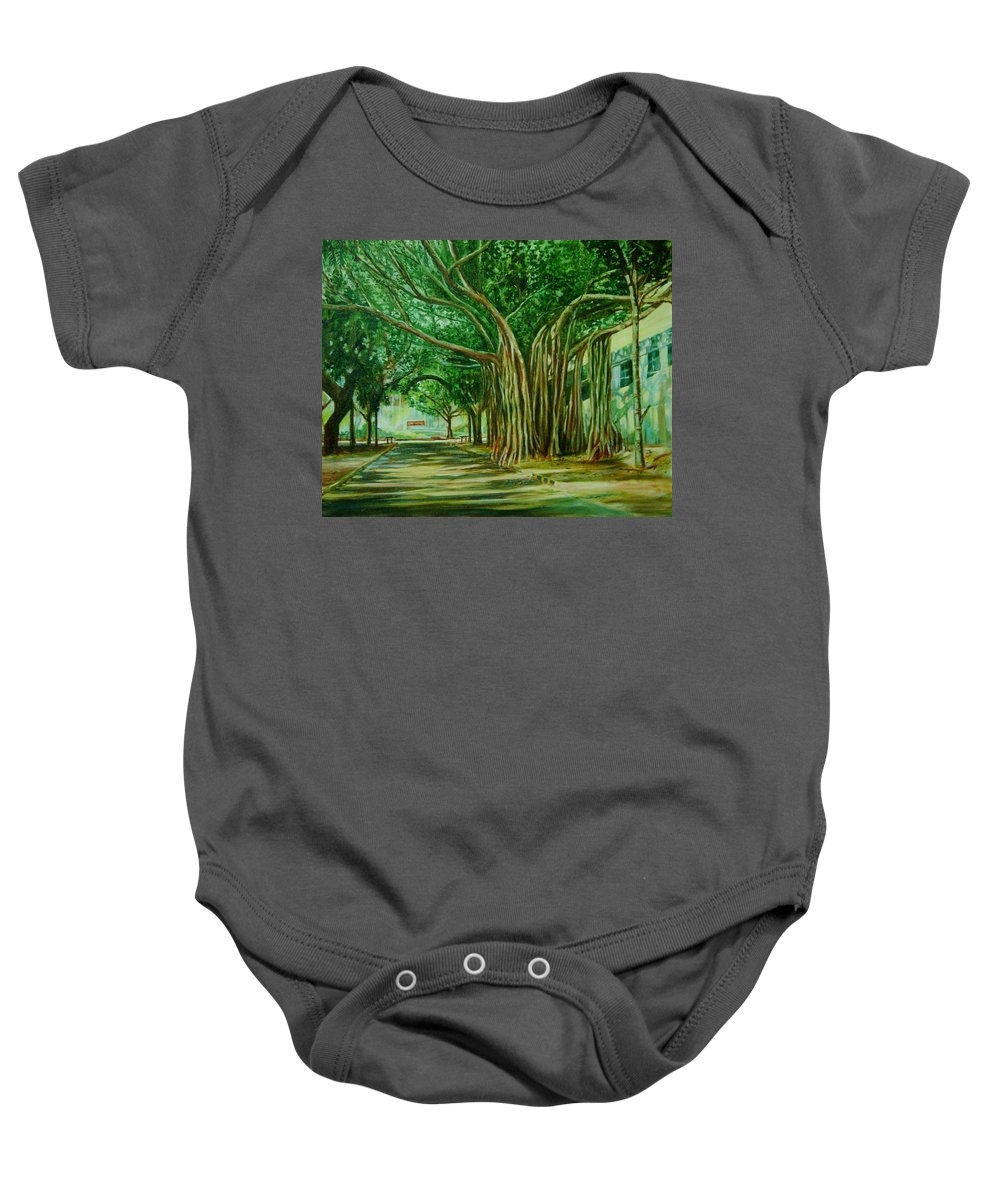 Tree Baby Onesie featuring the painting Tree Old Guy by Usha Shantharam