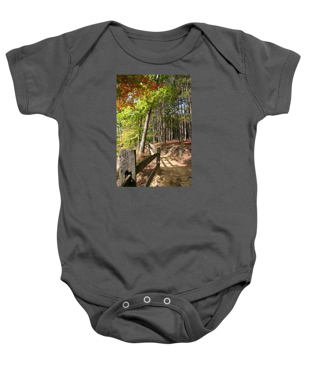 Tree Baby Onesie featuring the photograph Tree Trail by Margie Wildblood