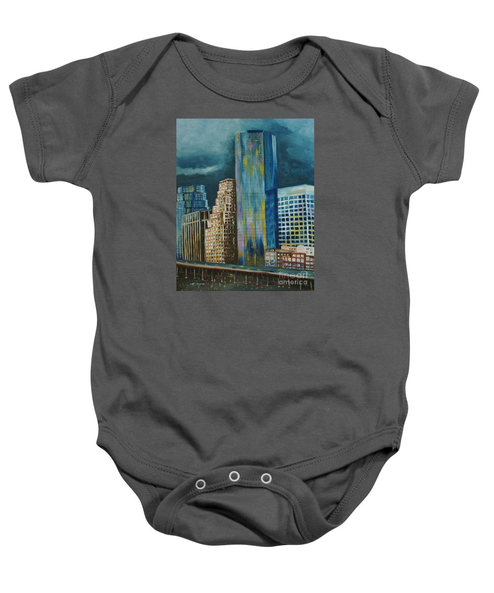 City Scapes Baby Onesie featuring the painting Tribeka by Milagros Palmieri