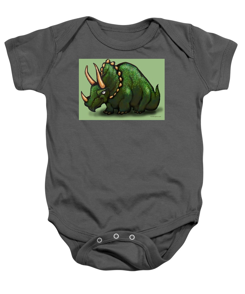 Triceratops Baby Onesie featuring the greeting card Triceratops by Kevin Middleton