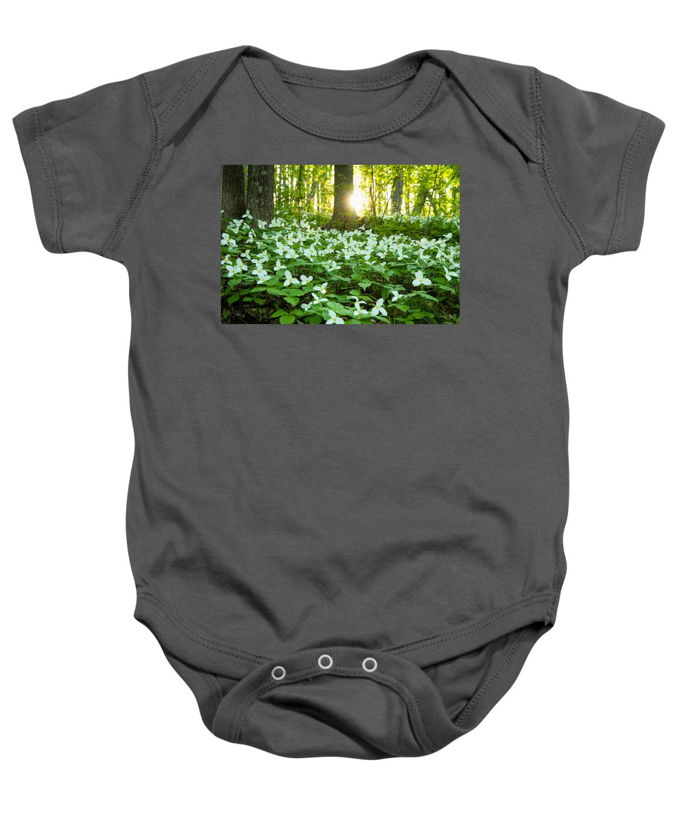 Trilliums Baby Onesie featuring the photograph Trillions Of Trilliums by JSAdkins Photography Jennifer S Adkins